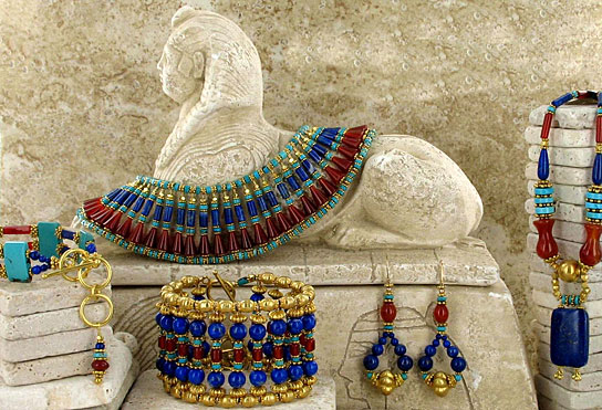 King Tut Egyptian Jewelry Vermeil Turquoise Lapis